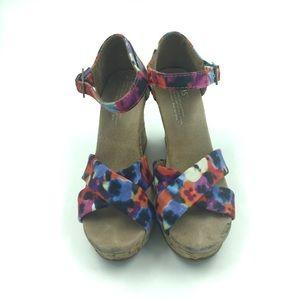 Toms floral cork wedges sandals 👡